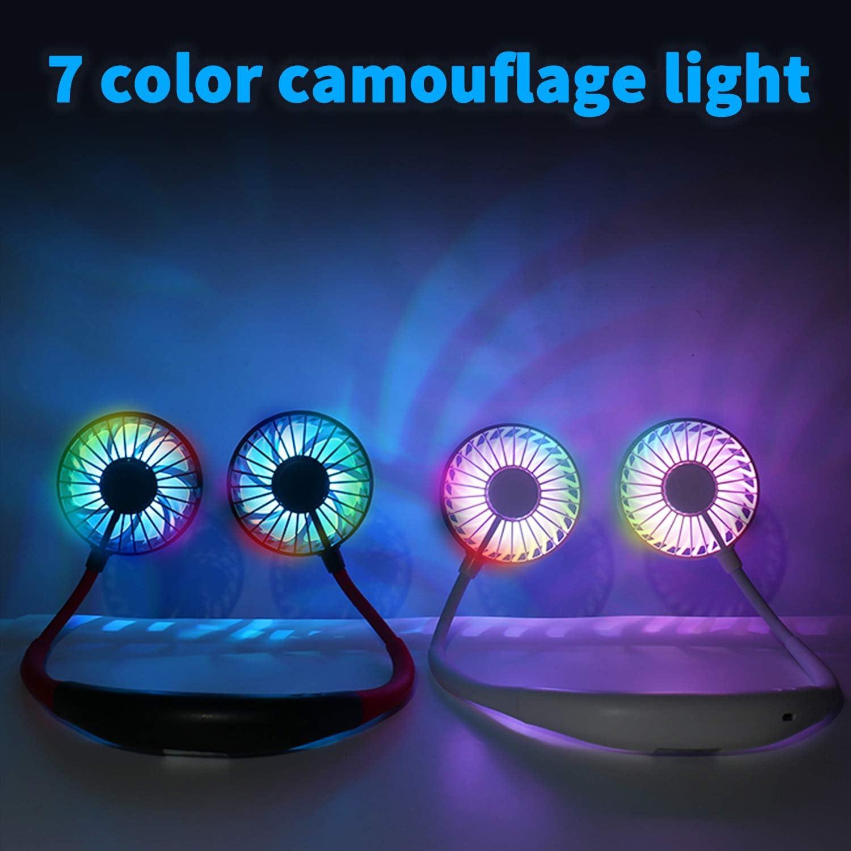 Hands Free Neck Fan,Personal Sports Fan USB Rechargable Fan ,3 Speeds 7Color Light Aromatherapy,360° Adjustable Wearable Neckband Fan,for Camping Traveling Office Leisure (Blue-White)