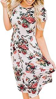 1738062ea3 Uscharm O-Neck Womens Dress Flowers Print Boho Lady Beach Summer Sundress  Maxi Loose Dress