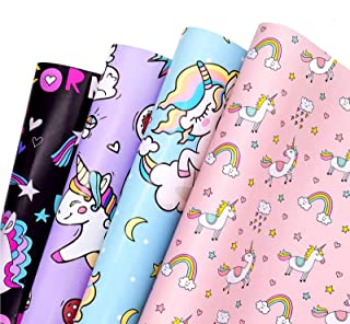 4 Pièces Papier Cadeau, Papier Cadeau Licorne, Papier d'Emballage de Dessin Animé, Papier Cadeau Coloré pour Mariage, Anni...