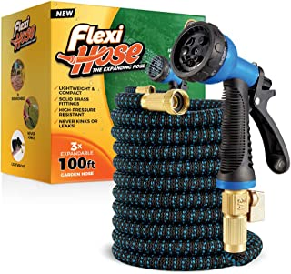 Flexi Hose Lightweight Expandable Garden Hose | No-Kink Flexibility - Extra Strength with 3/4 Inch Solid Brass Fittings & Double Latex Core | Rot, Crack, Leak Resistant (100 FT, Blue/Black)