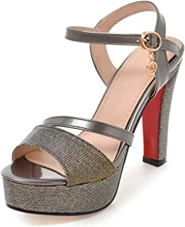 Surprise S Summer Platform Sandals Shiny Open Toe Women's Summer Shoes Buckle Party Wedding Shoes Ultra High Heels