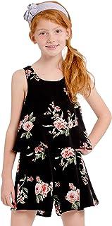 Little Girls Black Pink Floral Print One-Shoulder Strap Romper Dress 4-6X