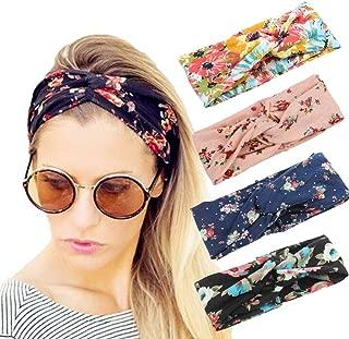 4 Pack Women Elastic Turban Head Wrap Headband Twisted Hair Band Cute Hair Accessories H1 (4 Color Pack C)