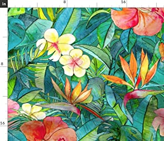 Tropical Flowers Fabric - Floral Jungle Lush Hibiscus Watercolor Green Tropical Floral Hawaiian Bird of Paradise by Micklyn Printed on Sport Lycra Fabric by The Yard