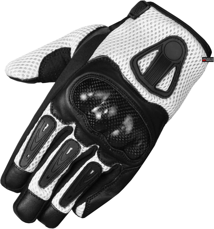New Men Las Vegas Mall Short Direct stock discount Motorcycle Leather Gloves Fiber Carbon Mesh White