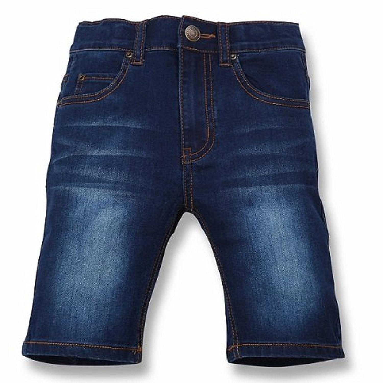 (コマンス) Commencer キッズ ボーイズ ガールズ デニム ハーフ パンツ 穿きやすさを追求した定番ストレッチデニムハーフ パンツ デニム パンツ (120, ネイビー)