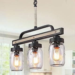 LOG BARN Rustic Mason Jar Chandelier, Farmhouse Lighting Metal Finish, Glass Hanging Pendant for Dining Room, Kitchen Island