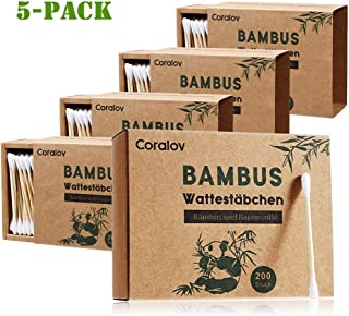 Bamboo Cotton Swab 1000PCS Double Cotton Buds Wooden Cotton Bud Craft Paper Packaging Recyclable Biodegradable Cotton Buds for Ear Skin Jewelry Art Pet Cleaning (5 PACKS OF 200 STICKS))