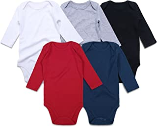 Unisex Solid Multicolor Baby Bodysuits 0-24 Months