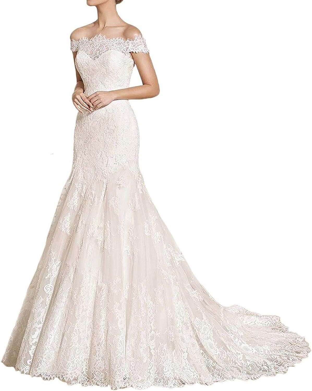 Sunnygirls Women Charming Lace Appliques Short Sleeve Mermaid Wedding Dress