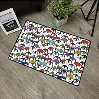 TeRIydF Square Door MatSea Animals,Pattern with Cute Penguins In Colorful Hats and Scarfs Cold Winter Fun Art,Multicolor Non-Slip Door Mat Carpet 16x24(IN)