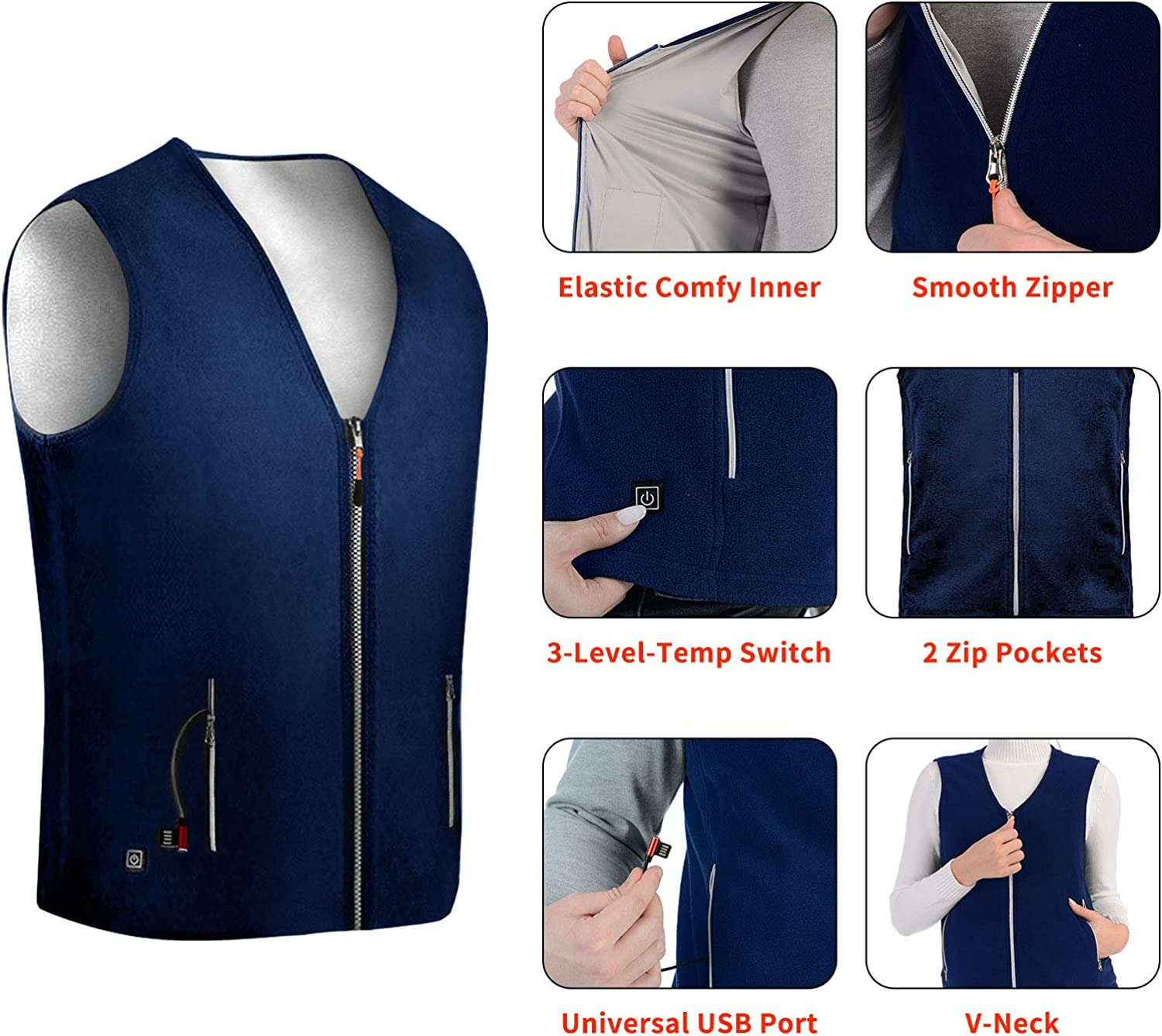 Anoopsyche Electric Heated Vest USB Charging Heated Jacket for Men and Women 3-level Heating for 8 Hours Ski Hiking 5 Heating Pads Heated Clothes Jacket for Warmth Outdoor Work NO Power Bank