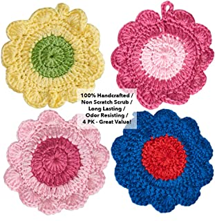Dish Scrubber(4 PK - Mix) Tough on Grease/Dries Fast/No Mildew Odor Smell/Sponge/Dishcloths.100% Handcrafted Crocheted Scrubbies, Scrubbers for Dishes, Washcloth, Dish Scrubber, Cleaning Scrubber