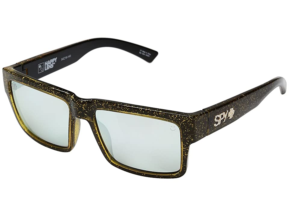 Spy Optic Montana (Las Vegas Black/Gold Happy Gray Green/Silver Mirror) Plastic Frame Sport Sunglasses