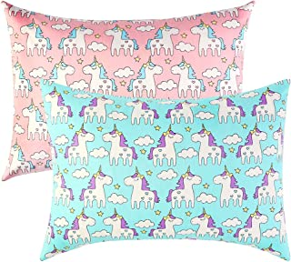 IBraFashion Toddler Pillowcases for Girls 14x19 for 13x18, 12x16 Pillow 100% Cotton Cute Princess Unicorn Printings Set of 2
