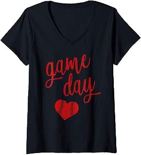Womens Game Day Baseball Softball Mom Shirt Heart Gift Red V-Neck T-Shirt