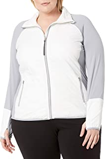 Women's Size Plus Polyester Filled Jacket with Knit Sleeves, White, 2X