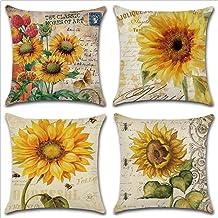 Throw Pillow Case Cushion Cover Linen Home Decorative Ocean Theme 18x18in (Sunflower)