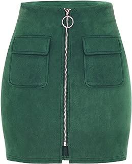 SDHEIJKY fashion Pockets Zipper Skirts Women Causal Pencil Mini Skirts