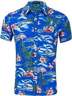 77e36f939af783 Kaiyei Uomo Camicia Hawaiana Manica Corta Bottone Fenicottero Stampa  Floreale Fantasia Shirt Spiaggia Festa Sciolto Colorate