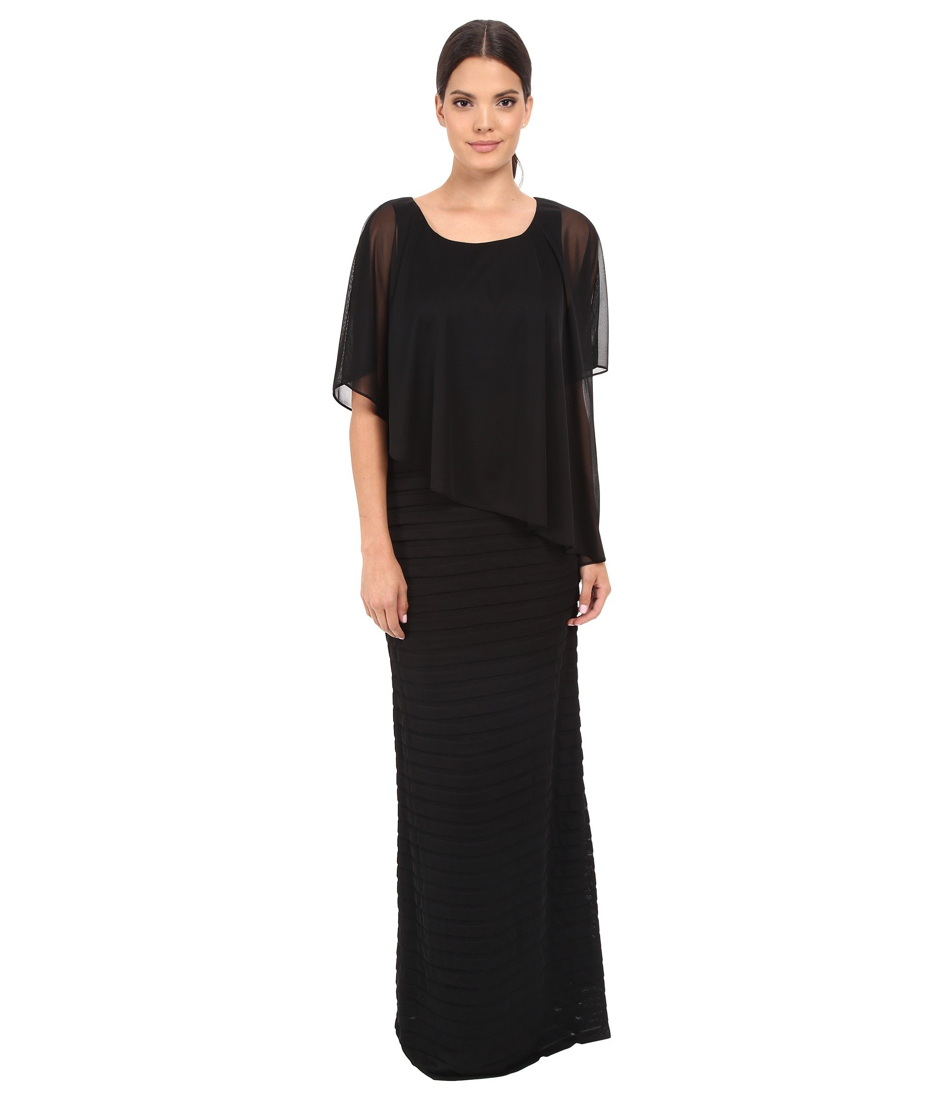 Vestido para Mujer Adrianna Papell Asymmetrical Caplet Tucked Gown  + Adrianna Papell en VeoyCompro.net