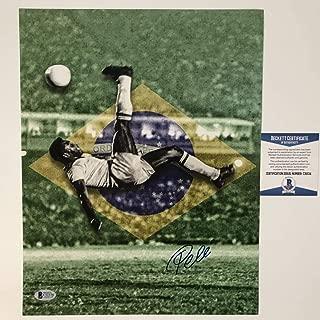 Autographed/Signed Pele Brazil Soccer Futbol 11x14 Photo Beckett BAS COA Auto