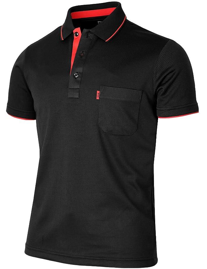 BCPOLO Men's Polo Shirt Short Sleeve Solid Polo Shirt Dri Fit Polo Shirt