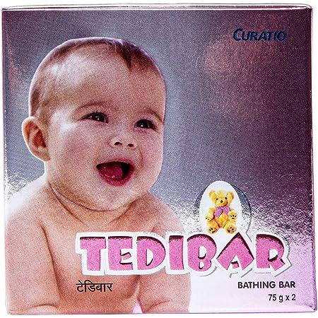 Tedibar Baby Bathing Bar | For Baby's Sensitive Skin | Gentle Cleansing, Skin-friendly, pH 5.5, 75gm, Pack of 2