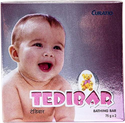 Tedibar Baby Bathing Bar   For Baby's Sensitive Skin   Gentle Cleansing, Skin-friendly, pH 5.5, 75gm, Pack of 2