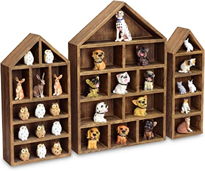 """Ikee Design House-Shaped Wooden Shadow Cubby Box Display Shelf Toy Organizer Storage Shadow Box for Mini Toys Figures, Set of 3, Brown Color, 10"""" W x 2 1/4"""" D x 15"""" H"""