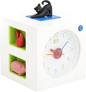 KOOKOO KidsAlarm White, Alarm Clock for Children Including 5 Farm Animals and Their Wake-up Calls, Natural Field Recordings, MDF Wood Cabinet;