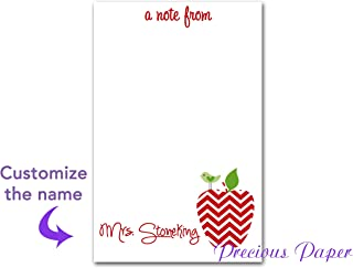Personalized Teacher gift Personalized Teacher Red Chevron Apple Notepad