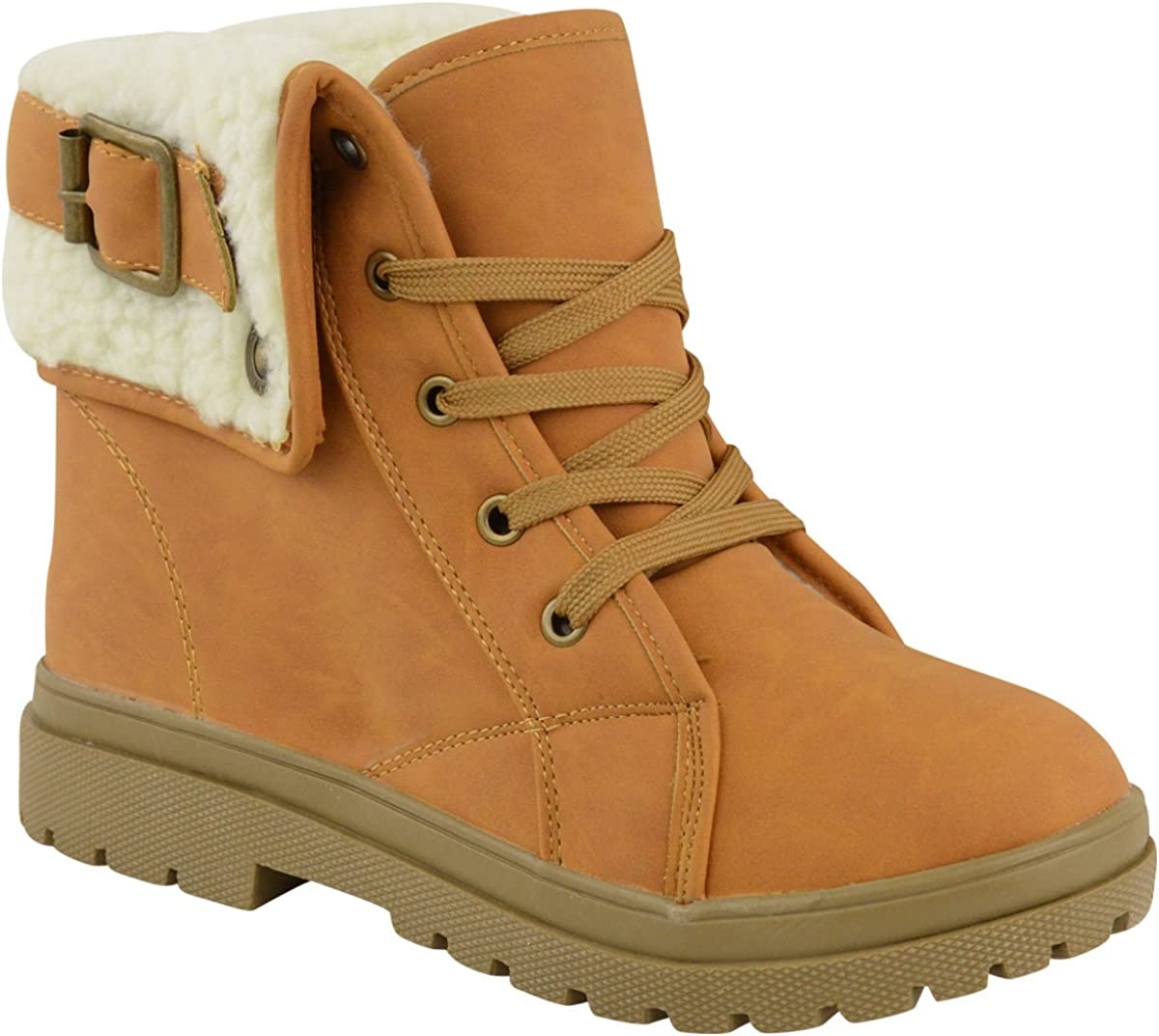 Very popular Fashion Thirsty Womens Army Special price Flat Combat Faux Grip Lined Fur Sole