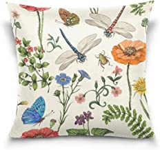 Vantaso Throw Pillow Covers Botanical Wallpaper for Sofa Couch Living Room Bed Decorative, Cotton, Multi, 20x20