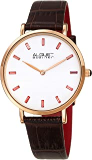 August Steiner Women's Multicolored Baguette Crystals Watch - Simple and Clear Dial with Baguette Hour Markers on a Genuin...