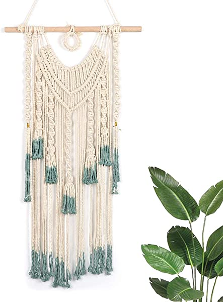 Woven Macrame Wall Hanging Boho Home Decor Teal Color 17 7 WX 33 L Large Above Bed Decor Neutral Boho Wall Decor For House Apartment Dorm Room Nursery Party Decorations Wedding Backdrop