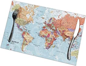 Laxoinh World Map Placemats Set of 6 Non-Slip Heat-Resistant Washable Place Mats for Dining Table