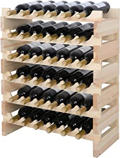 "Taltintoo20 Modular Wine Rack Stackable Wooden Stand,Size 30.25"" H x 24.75"" W x 11"" D, Shelves 36 Bottle 6 Tiers x 6 Color Natural"