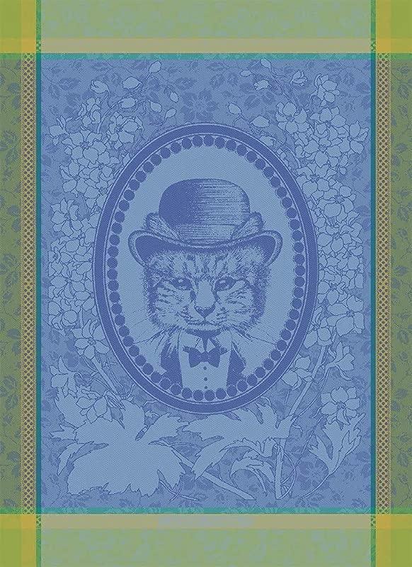 Garnier Thiebaut Monsieur Chat Bleu Mr Cat French Jacquard Kitchen Tea Towel 100 Percent Cotton
