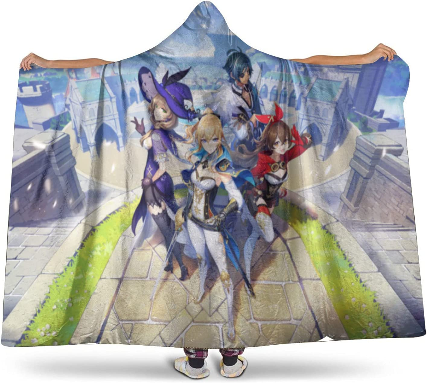 Same day shipping Genshin Impact Hoodie Cover Comfy wi Warm Plush Blanket Wearable Store