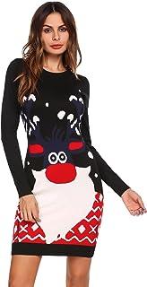 6d995ae213c Meaneor Robe de Noël Pull Femmes Manches Longues Santa Impression Robes de  Swing Party de Noël