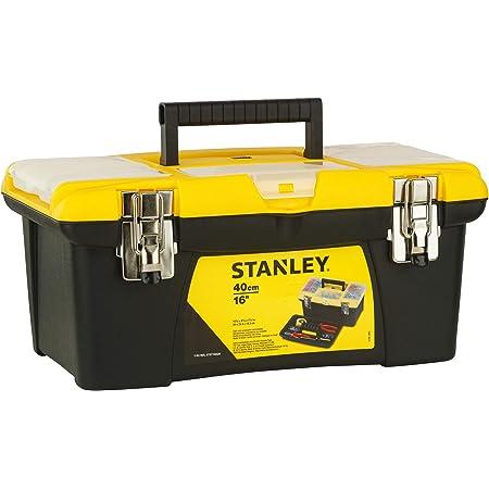 Stanley 1-92-905 Boîte à outils Jumbo 40,5x25,4x17,8 cm - Vendue Vide - Plateau Porte-outils Amovible - Attahces métalliques - Organiseur Intégré - Poignée Bi matière