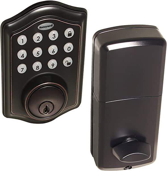 Honeywell Safes Door Locks 8712409 Electronic Entry Deadbolt With Keypad Oil Rubbed Bronze
