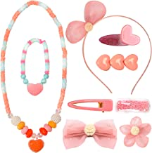 PinkSheep Princess Jewelry Set for Kids Girl, 9pc, Heart Necklace Bracelet Hair Accessories, Beautiful Gift Box Pink