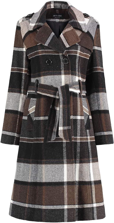 De La Creme  Womens Check Tie Belt Winter Wool Coat
