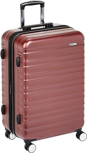 Amazon Basics Valise rigide à roulettes pivotantes de qualité supérieure avec serrure TSA intégrée - 68 cm, Rouge