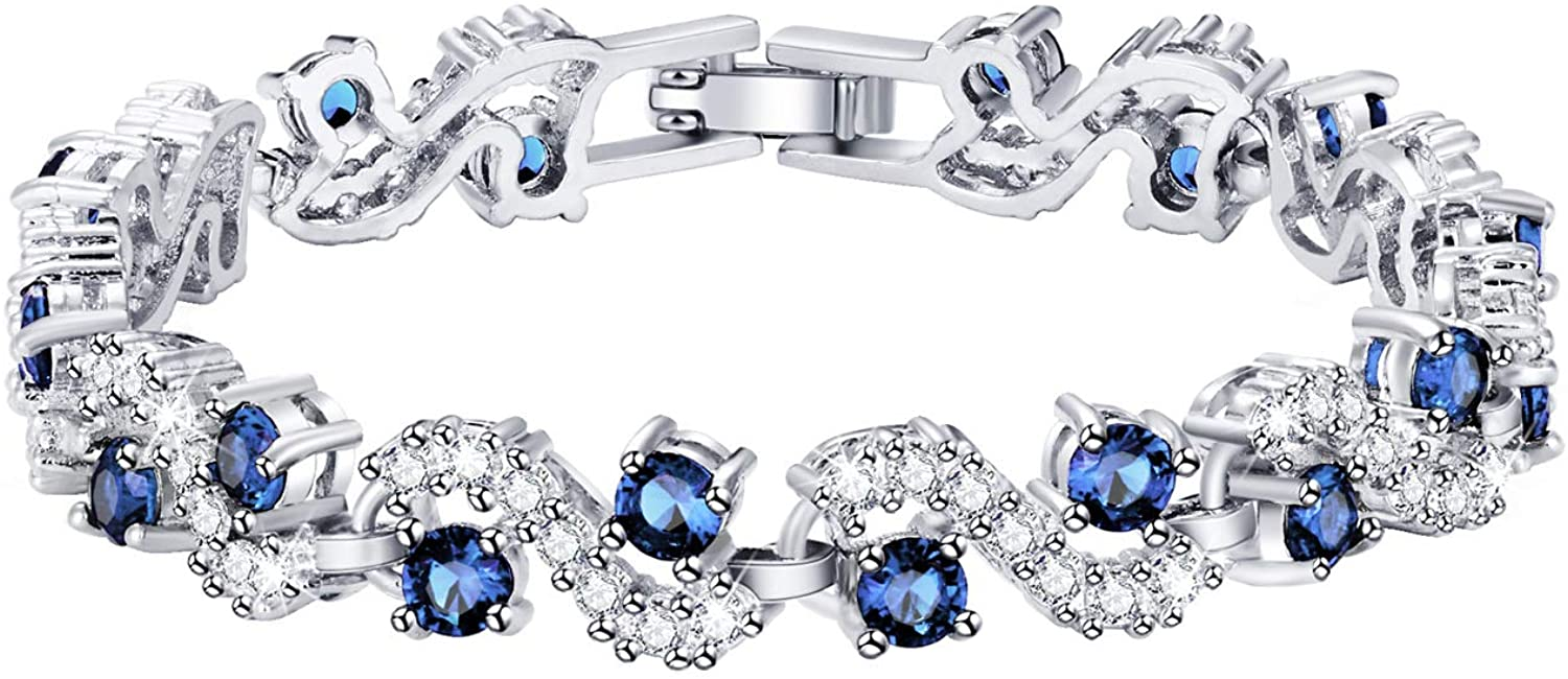 Feraco Blue Tennis Cubic Zirconia Bracelet for Mom Daughter Womens Classic 14K Plated Sapphire Bangle Crystal Jewelry Gifts