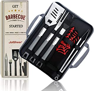 Jardineer 6PCS Grilling Set, Grill Utensil Set Heavy Duty Stainless Steel & Grilling Gloves, BBQ Utensils Set in Gift Box, Non-Slip Handle Dad Grilling Set