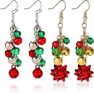 Konsait 2Pairs Christmas Earrings For Women Ladies Girls,Red Green Jingle Bell Dangle Earrings Bow Earrings Pendant Set fo...