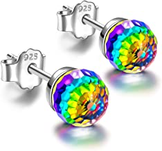 PAULINE&MORGEN ✦ Rainbow Princess ✦ Women Christmas Earrings Gifts Ball Sterling Silver Crystal Clip On Stud Earrings for Women with Vitrail Medium Crystal from Swarovski Hypoallergenic 6MM